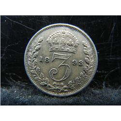 1893 Great Britain 3 Pence 92.5% Sterling Silver Coin.  Coin Weighs 0.05 Troy Ounce.