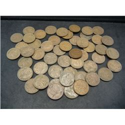 Roll of 50 George VI Canadian Cents Dated 1937-1952.