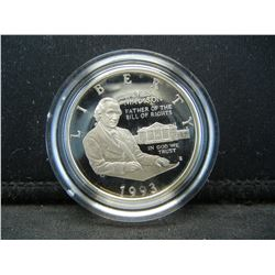 1993-S James Madison, Father of the Bill of Rights Proof Commemorative 90% Silver Half Dollar.