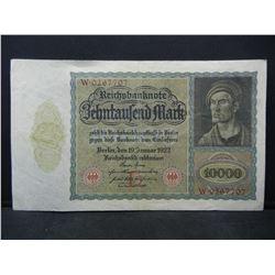 1922 Germany Weimar Republik 10,000 Mark Reichsbanknote, Serial # W 0267707