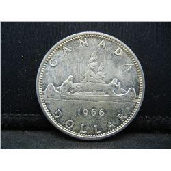 1966 Canada 80% Silver Dollar.  Coin Weighs 0.75 Troy Ounce.
