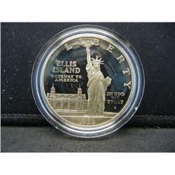 1986-S Ellis Island Statue of Liberty Proof Commemorative 90% Silver Dollar.