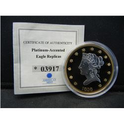 1838 $10 Proof Gold American Eagle Replica, Accented With Platinum With COA.