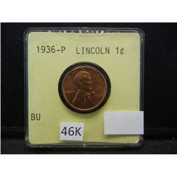1936 Red Brilliant Uncirculated Lincoln Head Cent.