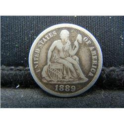 1889 Seated Liberty Dime, Full LIBERTY.