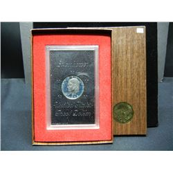 1973-S Key Date Eisenhower 40% Silver Proof Silver Dollar With Original Brown Box Gov't Packaging.