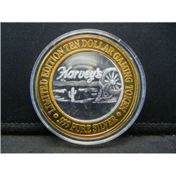 (HARVEY'S) SILVER (.999) LAKE TAHOE, NV, CASINO COIN, LIMITED EDITION, UNCIRCULATED, HUGE MIRROR!