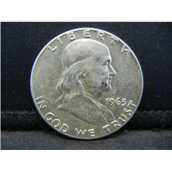 1963 SILVER (90%) FRANKLIN HALF, BU/2ND YEAR, (ONLY 22.1 MILL EVER MINTED), 56 YRS OLD, INCREDIBLE C