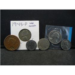 (6) MISC US COINS (18?? US LARGE CENT, 1945-P WAR NICKEL, 1893 INDIAN PENNY, 1973 BU SEALED QUARTER,