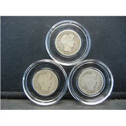 (3) BARBER DIMES (1903/1916 & 1914) SILVER (90%), HARDER TO FIND, (LOWER MINTAGES), OVER 100 YEARS O