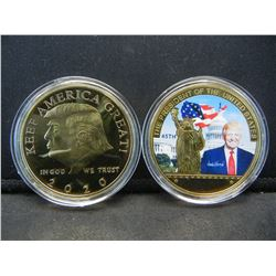 2 TRUMP MEDALS (THE PRESIDENT OF THE UNITED STATES & KEEP AMERICA GREAT), PROOF, Encapsulated For Fu