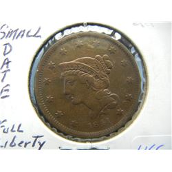 1841 US LARGE ONE CENT (XF $145/ONLY 1.6 MILL MINTED)