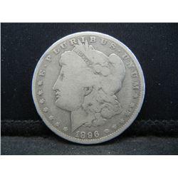 1896-O MORGAN SILVER (90%) DOLLAR, NICE GRADE/FULL LIBERTY, (ONLY 4.9 MILLION MINTED), 123 YRS OLD,