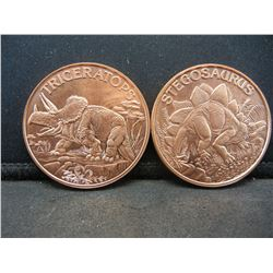 (2)-1 OUNCE PURE COPPER (.999) ROUNDS (DINASAUR'S), PROOF!