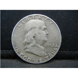 1952-D SILVER (90%) FRANKLIN HALF, (ONLY 25.4 MILL EVER MINTED), 67 YRS OLD, INCREDIBLE COIN!