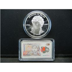 """2-(TRIBUTE TO """"PRINCESS DIANNA""""/1 OUNCE EACH), PROOF, Encapsulated For Future Preservation, Novelty,"""