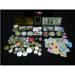 """HUGE LOT OF """"JUNK DRAWER COLLECTABLES"""" (SILVER/PROOF TOKENS/VIALS/ARROW HEADS/FOREIGN COINS/TAX STAM"""