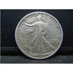 1943-S SILVER (90%) LIBERTY HALF, WWII ERA, (ONLY 13.4 MILL EVER MINTED), 76 YRS OLD, INCREDIBLE COI