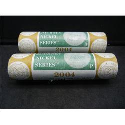 (2) Mint Wrapped 2004 P and D Westward Journey Keelboat nickel rolls.  GEM.