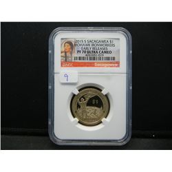 2015-S Sacajawea $1.  Mohawk Ironworkers.  Slabbed by NGC (top two graders) as Proof 70, Ultra Cameo