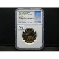 2015-D Sacajawea $1.  Mohawk Ironworkers.  Slabbed by NGC (top two graders) as MS67 Proof-like.  Ver