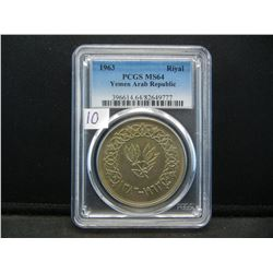1963 Yemen Arab Republic Silver Riyal.  Slabbed by PCGS (#1 graders) as MS 64.  Beautiful coin and a