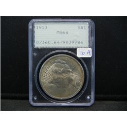 1923 Peace $1.  Slabbed by PCGS (#1 Graders) as MS 64.  Old  rattler holder.