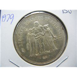1979 France 50 Franc Forty Millimeter (same size as silver eagle) silver coin.  BU.