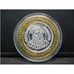 Golden Nugget Las Vegas $10 (.999) silver gambling token.    In capsule.