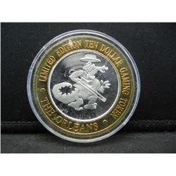 The Orleans Las Vegas $10 (.999) silver gambling token.    In capsule.