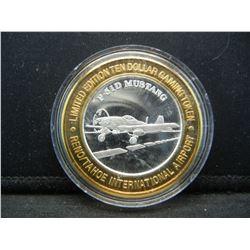 Reno/Tahoe International Airport $10 (.999) silver gambling token.   In capsule.
