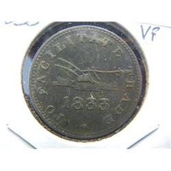 1833 Upper Canada ½ Penny Token.  Great Boat.  Nice Very Fine.