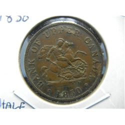 1850 Upper Canada ½ Penny Token.  Very Regal.  Nice Extra Fine.