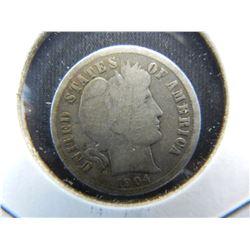 1904-S Barber Dime.  Original Good 6.  Semi-key date in the series.