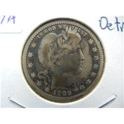 1909-O Barber Quarter.  VG 10 Detail.  Very Scarce Semi-Key Date.