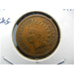 1909-S Indian Cent.  Fine detail with rim nicks.  Guaranteed genuine.