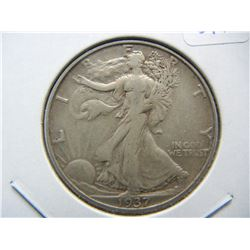 1937-D Walking Liberty Half. Extremely Fine 40.  Almost impossible to fine.