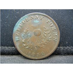 1832 Nova Scotia ½ Penny Token:  NS-1.  Very Fine.