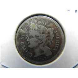 1867 Three Cent Nickel.  Fine detail.
