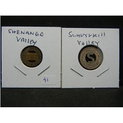 (2) Neat Transportation tokens:  Shenango Valley Penn and Schuylkill Valley, Penn.