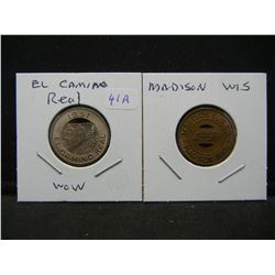 (2) Neat Transportation tokens:  El Camino Real (CA) and Madison Wis.