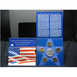 2007 Uncirculated $1 coin set.  (4) Presidential dollars, Sacajawea $1, and Silver Eagle.