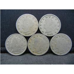 1907, 08, 10, 11, 12 Liberty Head V Nickels, (5) Total