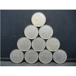 (10) 1950's Belgium One Francs