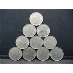 (10) 1970's Belgium One francs