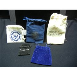 (5) Different Cloth Coin Sacks