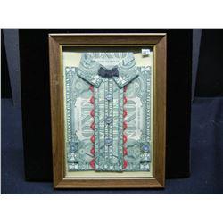 Dollar Bills Folded Into Button Up Shirt, Framed