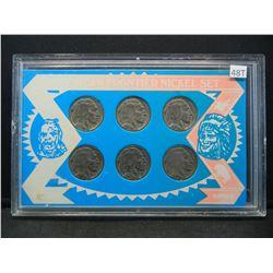 American Frontier Nickel Set, 1930, 35, 36, 37, 37, 36 Buffalo Nickels, (6) Total
