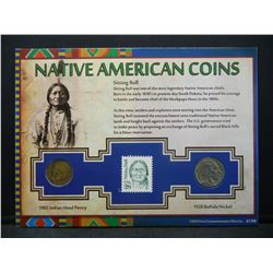 Native American Coins Card with 1902 Indian Head Cent, and 1928 Buffalo Nickel