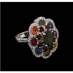 7.21 ctw Multi Gemstone and Diamond Ring - 14KT White Gold